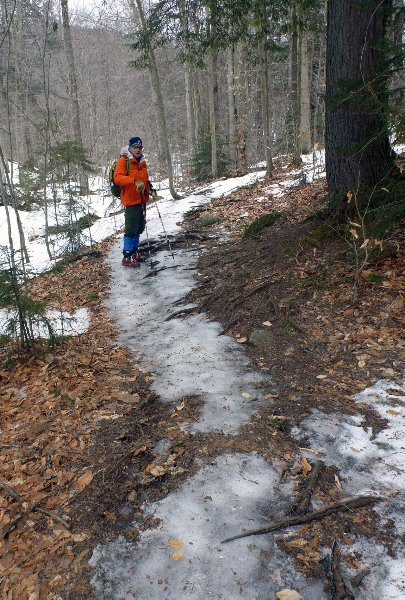 2.22.18 Bill U. In the lower elevations the trail was mostly solid ice, with some bare ground in the hemlock stands.