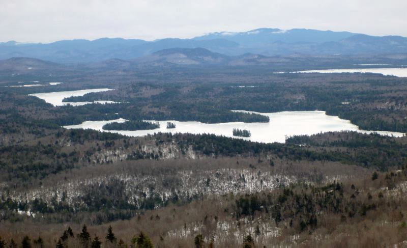 2.22.18 St. Regis Pond in the foreground, Little Clear Pond to the left and Upper Saranac Lake to the right.